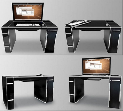 luksusowe biurko z wbudowanym zestawem komputerowym wp tech. Black Bedroom Furniture Sets. Home Design Ideas