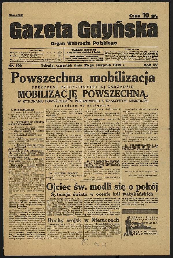 """""""Gazeta Gdyńska"""" 31 sierpnia 1939 r."""