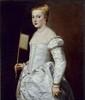 Young Woman Dressed in White, c. 1555,  Canvas, 102 x 86 cm,  Dresden, Staatliche Gemäldegalerie Alte Meister © DRESDEN, BPK / STAATLICHE KUNSTSAMMLUNGEN DRESDEN / ELKE ESTEL / HANS-PETER KLUT Courtesy of The Alte Pinakothek, Munich Dzieło byłł prezentowane podczas wystawy: RUBENS CHALLENGES THE OLD MASTERS: INSPIRATION AND REINVENTION