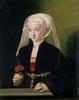 W XVI wieku Bartholomäus Bruyn namalował w Kolonii Portret Młodej Kobiety z goździkiem...   Bartholomäus Bruyn d. Ä. (Wesel [?] 1493 – 1555 Köln),  Bildnis einer jüngeren Frau mit Nelke, um 1537-1539, Öl auf Eichenholz, 37 x 30 cm,  Wallraf-Richartz-Museum & Fondation Corboud, Köln Courtesy of the Wallraf-Richartz-Museum & Fondation Corboud Dzieło jest prezentowane podczas wystawy: Do or Die. The Human Condition in Painting and Photography / Auf Leben und Tod. Der Mensch in Malerei und Fotografie