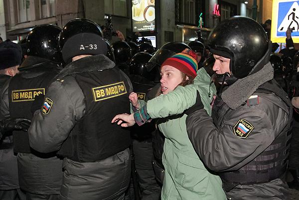 Protesty w Moskwie 7 grudnia zako�czy�y si� interwencj� policji i aresztem dla wielu os�b