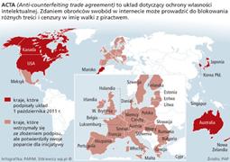 Proces ratyfikacji porozumienia ACTA na świecie
