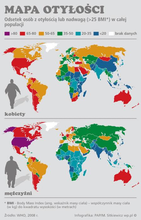 Przerażająca mapa otyłości na świecie!