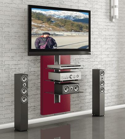 Przyk�adem atrakcyjnej wisz�cej p�ki audio-wideo z uchwytem na TV i maskownic� na kable jest Elmob Nikea 01. Cena – oko�o 800 z�otych.