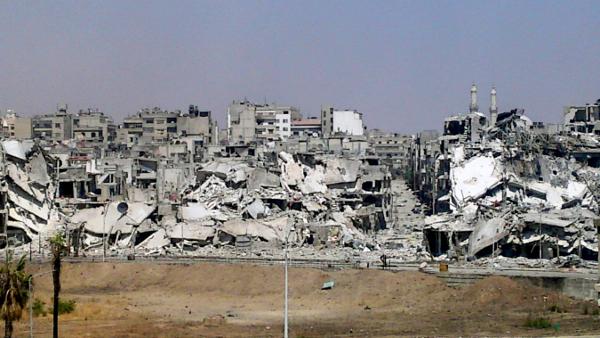 Zniszczenia bo bombardowaniach w syryjskim mieście Homs