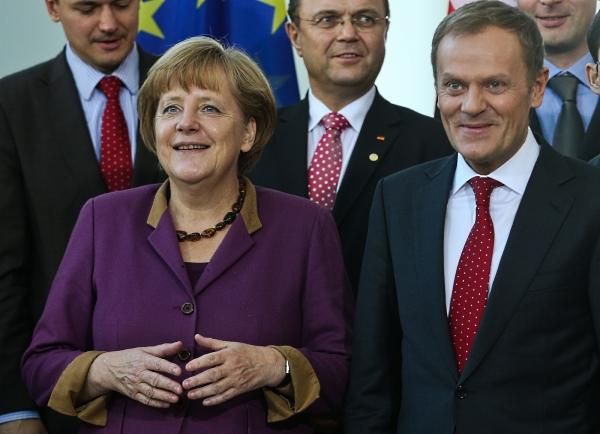 Premier Donald Tusk i kanclerz Niemiec Angela Merkel