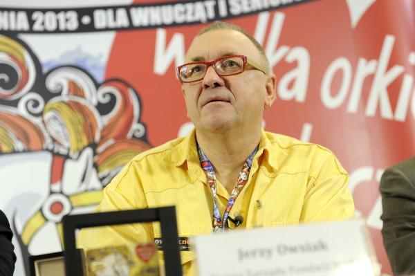 Jerzy Owsiak podczas 21. fina�u WO�P