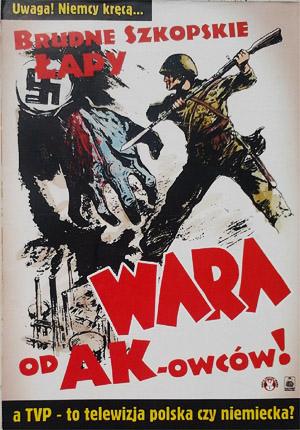 Plakaty rozwieszone w Warszawie w proteście przeciw pokazaniu w TVP serialu