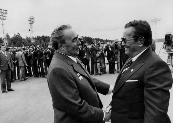 Leonid Bre�niew i Josip Broz Tito w 1977 roku