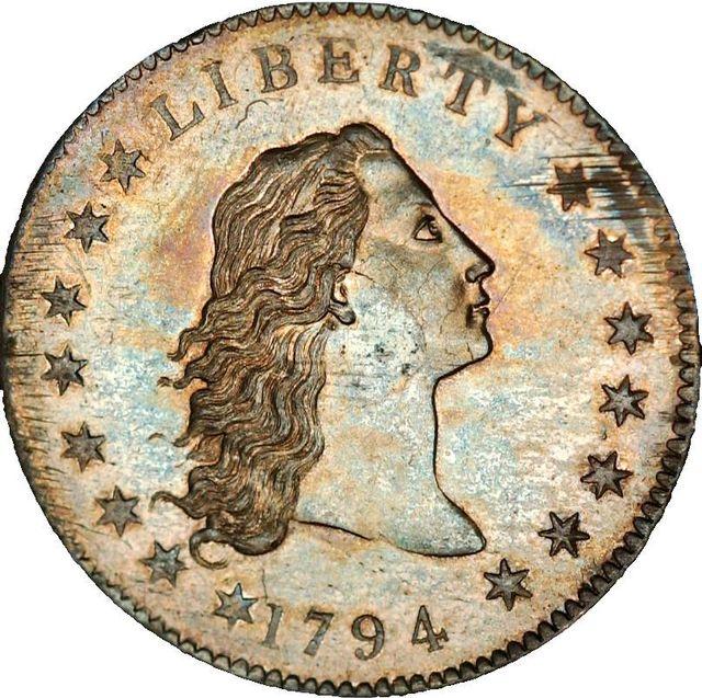 1. srebrno-miedziany dolar z 1794 roku (10 milionów dolarów)