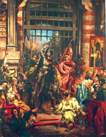 Fragment obrazu Jana Matejki przedstawiający Bolesława Chrobrego i Świętopełka pod Złotą Bramą w Kijowie