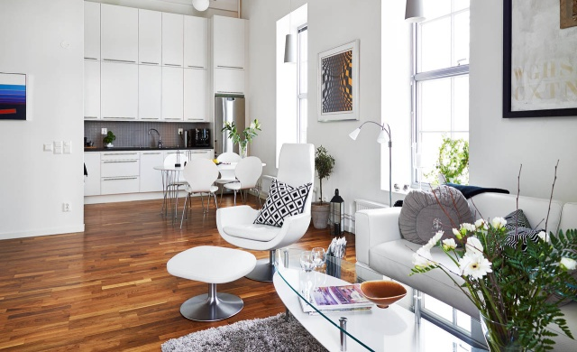 Kuchnia otwarta na salon  jak zaznaczyć granicę między   -> Kuchnia A Salon