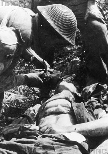 Ranny żołnierz 2. Korpusu w czasie bitwy pod Monte Cassino