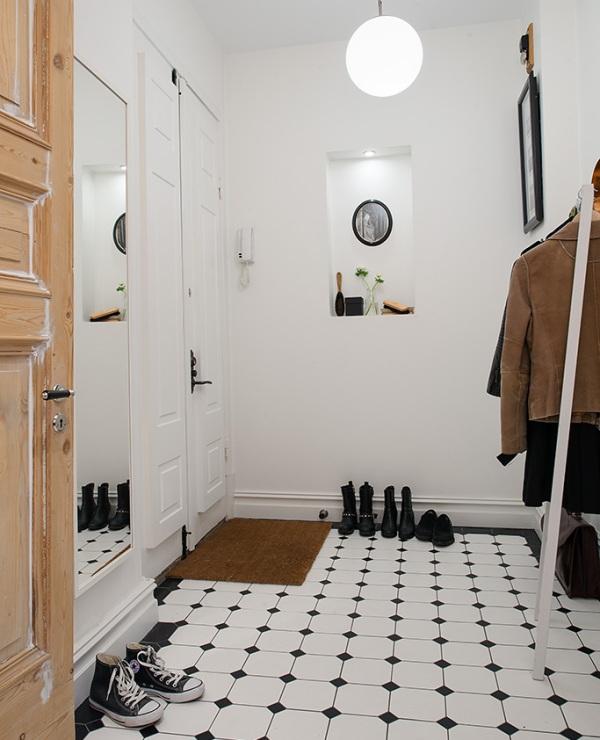 Modny pomysł na podłogę czarno biała podłoga w   -> Biala Kuchnia A Podloga