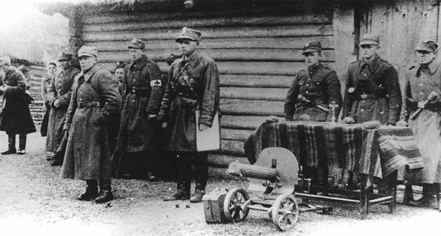 Przysięga VII batalionu 77 pp AK. Por. Jan Piwnik