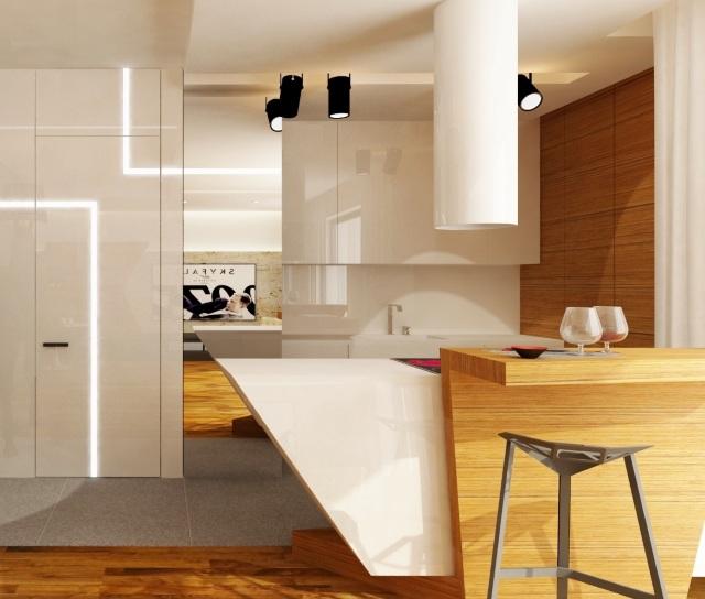 Ciemna kuchnia  aranżacja kuchni bez dostępu światła   -> Kuchnia Na Poddaszu Bez Okna