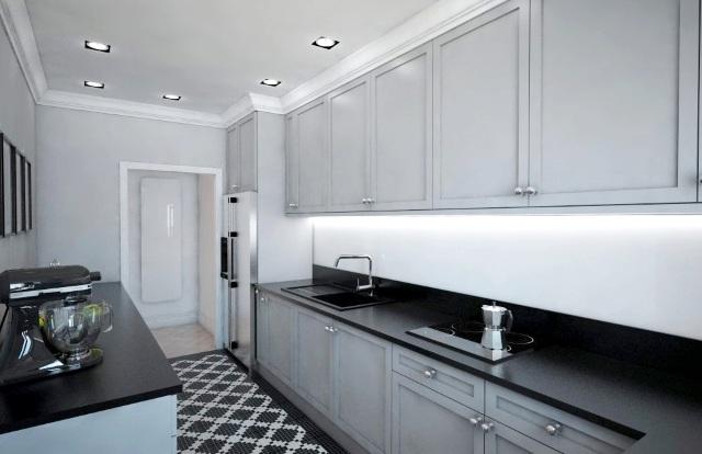 Ciemna kuchnia  aranżacja kuchni bez dostępu światła   -> Mala Kuchnia Bez Okna Aranżacje