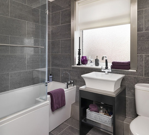 Wygl da na wi ksz szara azienka dostojna i nowoczesna wp dom Purple and black bathroom ideas