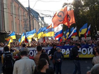 """""""Marsz pokoju"""" w Moskwie. Tysi�ce Rosjan protestuj� przeciwko wojnie na Ukrainie"""