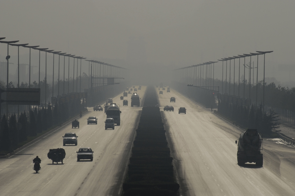 Smog w mieście Linfen, Chiny