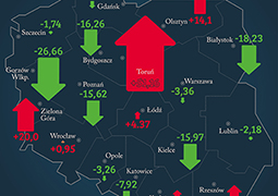 Wzrosty i spadki liczby wypadków w miastach