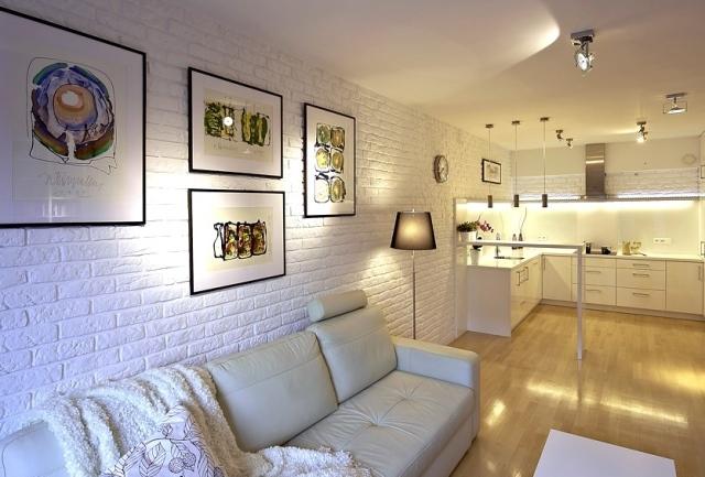 Bia a ceg a dekoracyjna bia a ceg a na cianie mur w for Biala cegla w salonie