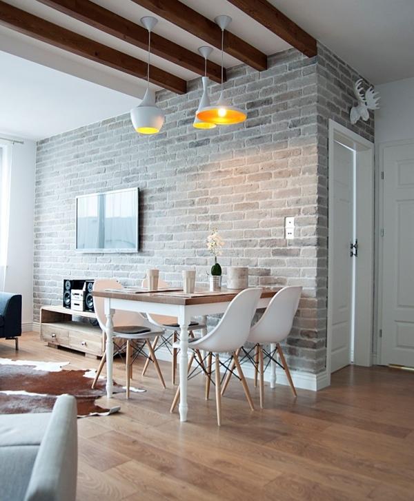 Bia a ceg a na cianie mur w wersji light wp dom for Biala cegla w salonie