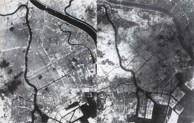 Zdjęcia lotnicze ukazujące Tokio przed bombardowaniem (z lewej) i po nalocie dywanowym z 10 marca 1945 r.