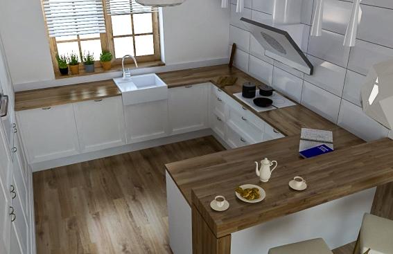 Biała, drewniana, przytulna  wymarzona kuchnia Grzegorza   -> Kuchnia Amica Drzwi