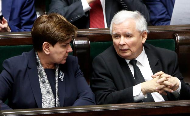 Premier Beata Szyd�o i prezes PiS Jaros�aw Kaczy�ski