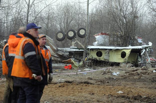 Miejsce katastrofy Tu-154M pod Smole�skiem.