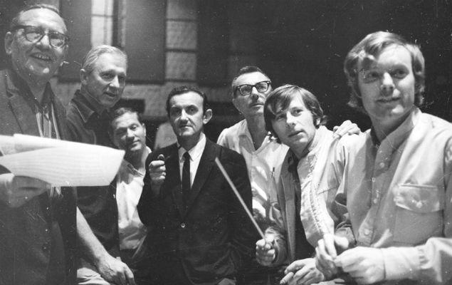 Komeda i Polański podczas nagrania muzyki do filmu
