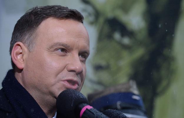 Prezydent Andrzej Duda podczas obchod�w Narodowego Dnia Pami�ci �o�nierzy Wykl�tych