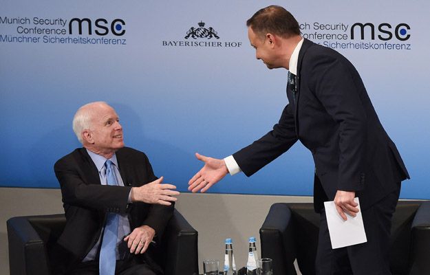 Prezydent Andrzej Duda oraz senator USA John McCain