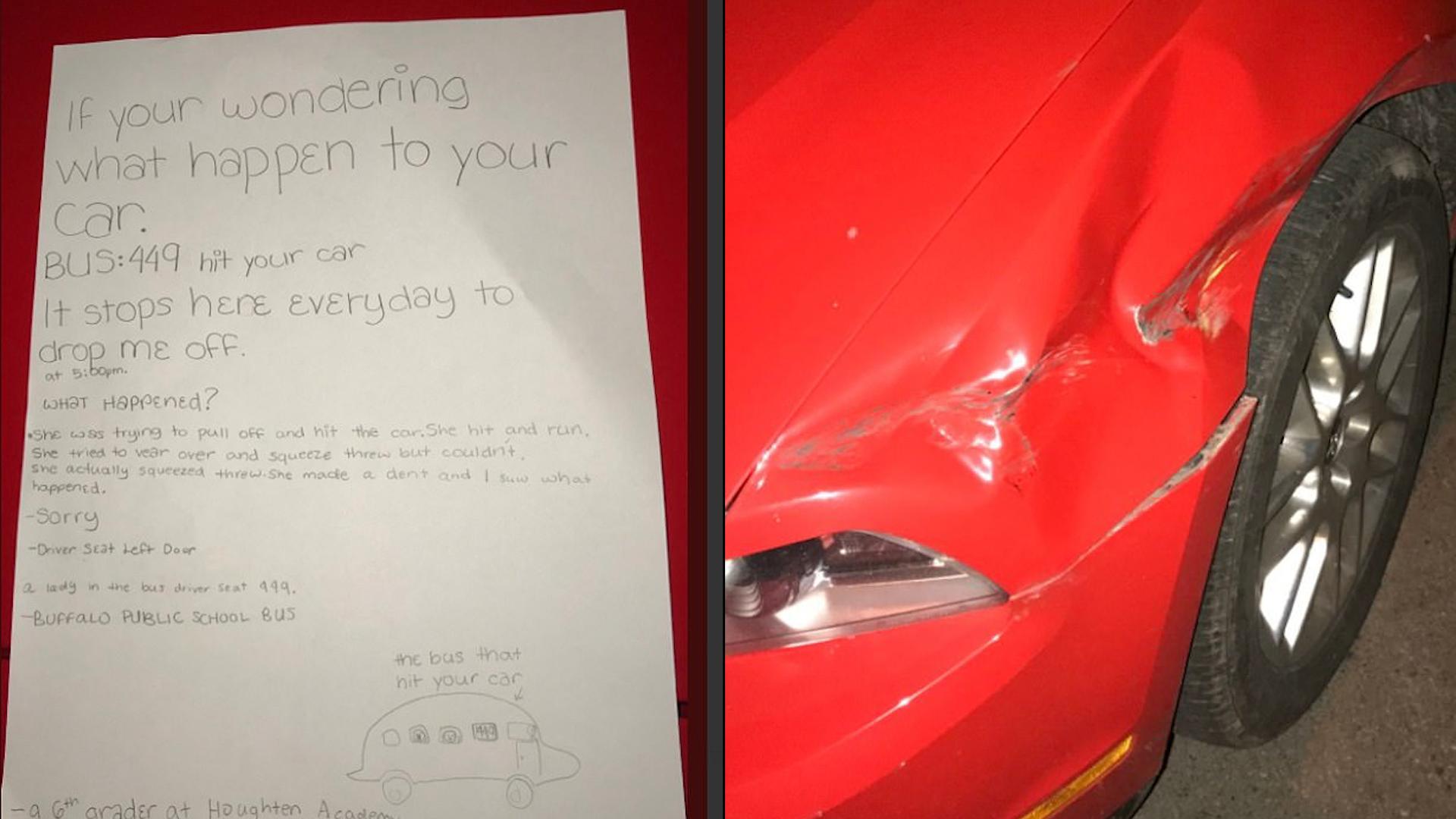 Uroczy liścik od ucznia, wyjaśnia co stało się z autem