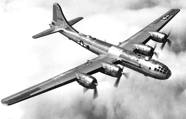 Amerykański bombowiec B-29. Takie maszyny dokonały nalotu niszczącego Tokio